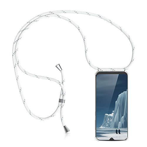 XCYYOO Étui Coque Universel avec Cordon Sangle Dragonne pour Samsung Galaxy A40,Housse en Silicone avec Collier Transparent Lanyard Case Réglable Téléphone Portable,Argent
