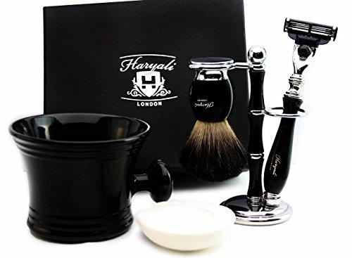 Haryali London Kit de rasage pour homme avec cartouche de rasoir à 3 bords avec poils de blaireau noirs purs, pinceau, support, tasse et savon Cadeau de Noël parfait pour homme