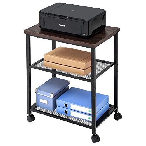 FITUEYES Soporte para Impresora con Ruedas 3 baldas de Carrito para Impresora Color marrón 60x40x74cm PS306001MW