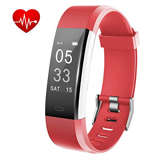 Lintelek Fitness Tracker, Activity Tracker with Heart Rate Monitor, Waterproof Smart Fitness Watch with Sleep Monitor, Step Counter, Calorie Counter, Pedometer Watch for Kids, Women and Men (Red)