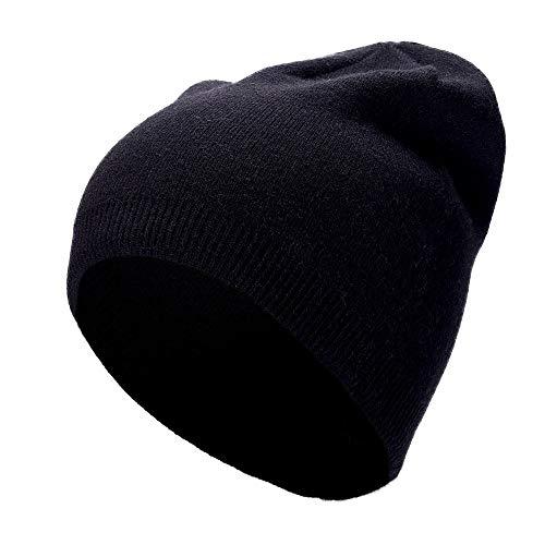 KCCCC Gorras de Esquí de Invierno Unisex con puño de Punto Gorra de la Cabeza Caliente de Las Orejas y le Mantiene Acogedor bajo el Sombrero Sombrero Cálido (Color : Black, Tamaño : M)