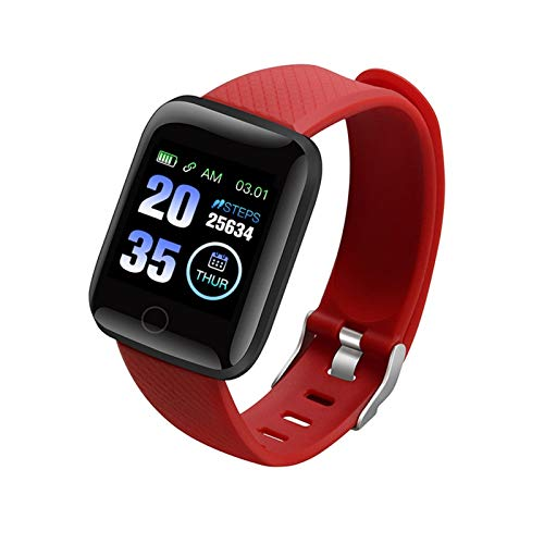 YDL Smart Watch Mujeres Hombres SmartWatch para Apple Android Electronics Smart FitnessTracker Monitor De Ritmo Cardíaco Bluetooth Relojes (Color : Red)