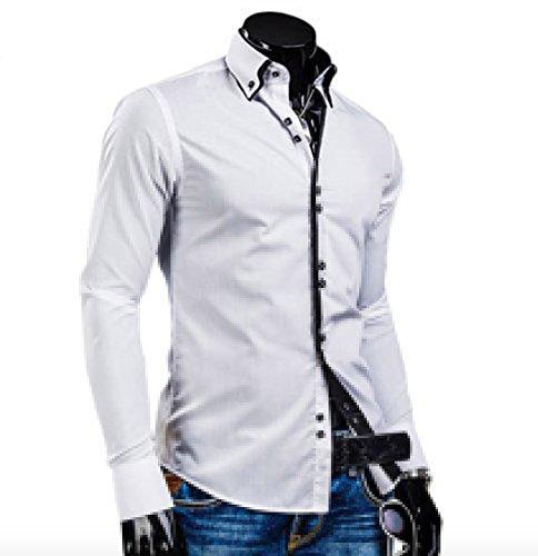 WSLCN Homme Élégante Chemise de Loisir Manche Longue Carré Bouton Couleur Contrasté Blanc FR M (Asiatique XXL)
