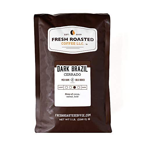 Fresh Roasted Coffee LLC, Dark Brazil Cerrado Coffee, Medium-Dark Roast, Whole Bean, 5 Pound Bag