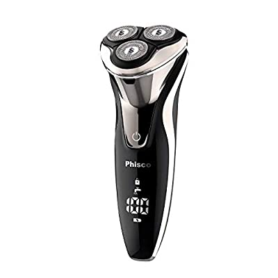 Phisco Electric Shavers Men 3D Rechargeable Electric Razor IPX7 Waterproof Wet and Dry Men's Rotary Shavers Electric Shaver Razor for Men with Pop-up Trimmer, LCD Display & Travel Lock from Phisco