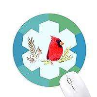 赤い鳥動物のカササギ 円形滑りゴムの雪マウスパッド