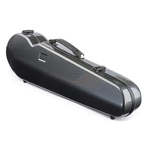 BLKykll Schwarzer Geigenkasten,Full 4/4 Größe Kohlefaser Geigenetui,Geigenkoffer,Eingebautes Hygrometer Geigenschutz Und Leistung