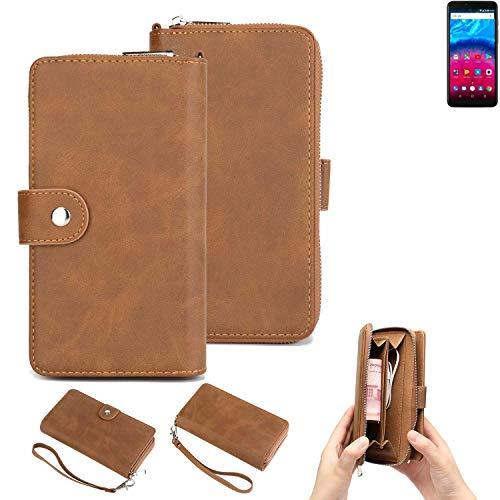 K-S-Trade® Handy-Schutz-Hülle Für Archos Core 57S Portemonnee Tasche Wallet-Case Bookstyle-Etui Braun (1x)