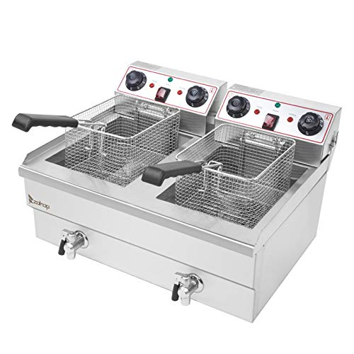 ZOKOP 24.9 QT Butterball Electric Turkey Fryer,Stainless Steel Double Tank Deep Fat Fryer with Removable Baskets and Thermostats,Silver