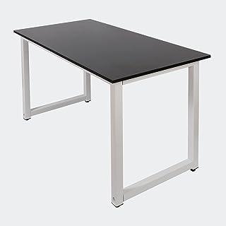 Escritorio 120x60x70cm negro con tablero MDF y patas de hierro pies de mesa ajustables