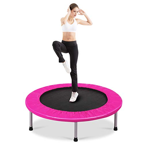 Giantex Mini Fitness Trampoline for Adults and Kids, 38 Inch Rebounder Trampoline, with Padding & Springs Elastic Safe for Indoor Outdoor Exercise Workout, Foldable Exercise Trampoline (Pink)
