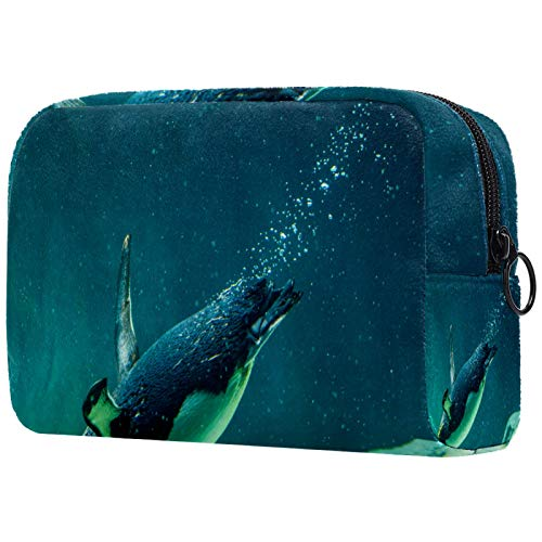 Borse da Toilette,Piccolo pinguino australiano che nuota nel serbatoio dell'acqua ,make up borse da viaggio,Beauty Case da Viaggio,Cosmetici Trucco Pochette da Toilette Organizer