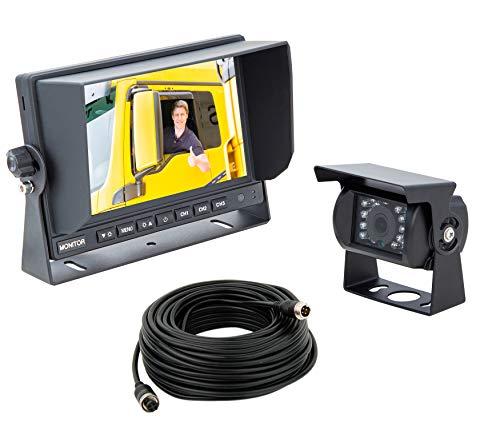 "VSG24 24191 – 7"" LKW-Set HD-Auflösung Rückfahrsystem, 120° Linse, 12-24 V, IP67 Kamera Set inkl. 20 m Kabel, Nachtsicht, Distanzlinien - Schwarz"