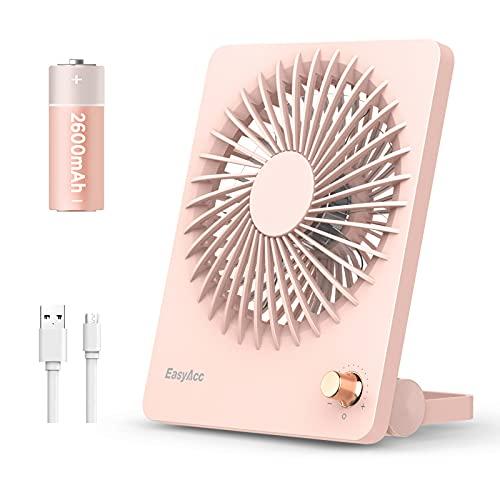 EasyAcc Ventilador portátil 2600mAh Batería Ventilador de Mesa 160° Ventilador de Escritorio USB Plegable Regulación de Velocidad Continua Ventilador de enfriamiento Personal para Exteriores-Rosado