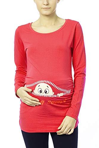 M.M.C. Coming Soon - Lustige witzige süße Umstandsmode Umstandsshirt Sweatshirt Schwangerschaftsshirt mit Motiv für die Schwangerschaft, Langarm (Koralle, Small)