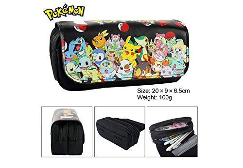 T-MIX Pokemon Pikachu Estuche de lápices Anime Gran Capacidad Doble Cremallera Lápiz Bolsa Cartera Bolsa de papelería (Colour10)