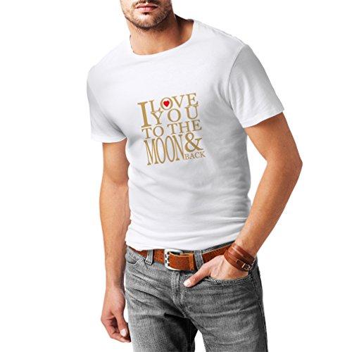 lepni.me Camisetas Hombre Te Quiero a la Luna y de Vuelta, Impresionante Regalo de Amor de San Valentín (Large Blanco Oro)