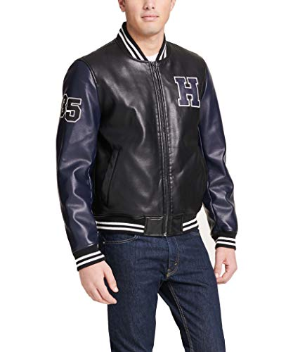 Tommy Hilfiger Men's Faux Leather Varsity Logo Bomber Jacket, Black/Navy, Small