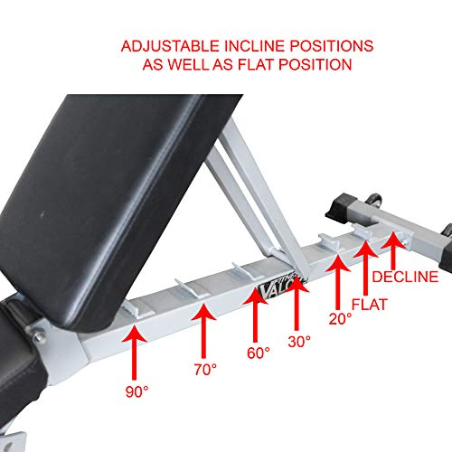 Valor Fitness DD Adjustable Flat, Incline, Decline Bench with Leg Support - 7 Position Back Pad, 4 Position Seat Pad, DD-4 Adjustable Bench