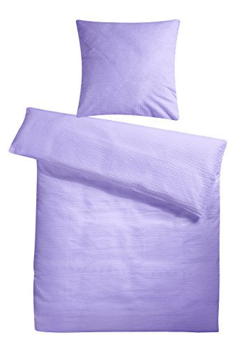 Leichtes Seersucker Bettwäsche Set 135 x 200 cm Flieder Lila – atmungsaktiver Bettdecken- und Kopfkissen-Bezug aus reiner Baumwolle mit Reißverschluss – 2 teilige Sommerbettwäsche Premium-Qualität