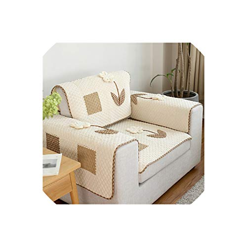 Korean Style Cotton Linen Corduroy Plaid Spliced Quilted Sofa Cover Floral Applique canape Couch Chair Furniture Covers SP5371,Color per pic,90cm180cm 1piece