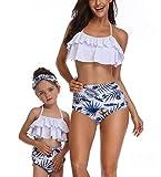 Dilicwa Madre e Hija Bikinis Traje de baño Padre-Hijo Bikini Traje de Baño, Mamá Niña Bañadores de Mujer de Verano Playa. (L, Blanco-Mujer)
