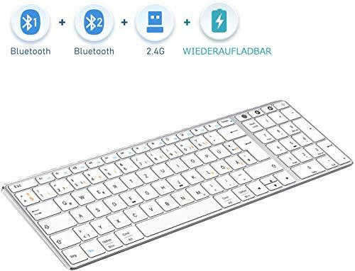 Jelly Comb Dual Bluetooth + 2.4G Funktastatur, Ultraslim Kabellose QWERTZ Tastatur Wiederaufladbar für PC/Laptop/MacBook/iMac/Tablet/Smart TV mit Windows/MacOS/iOS/Android, Weiß und Silber