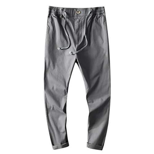 Panty's, joggingbroek, brede broek, heren, joggingbroek, vrije tijd, katoen, ademend, losse lange broek, pure kleur rechte broek X-Large grijs