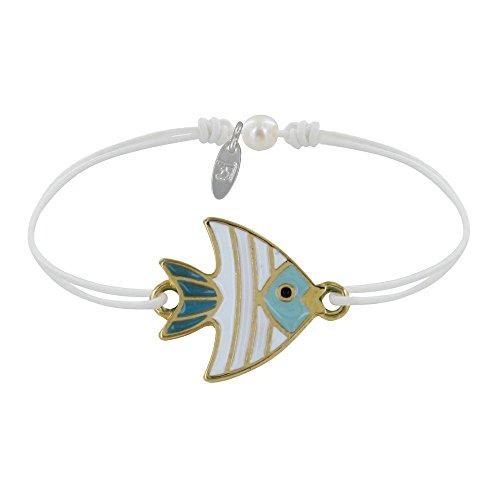 Schmuck Les Poulettes - Armband Glieder Messing Fisch Medaille Weiß und Türkis Emailliert - Weib
