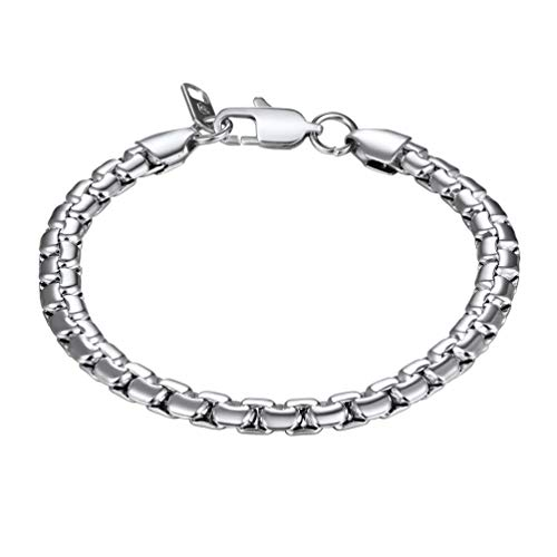 PROSTEEL 316L Stainless Steel Box Chain Bracelet Thick Punk Hip Hop Mens Jewelry 20CM