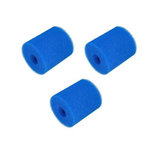 Xueliee 3 piezas de esponja de cartucho de filtro, reutilizable, lavable, filtro de piscina, filtro de espuma, cartucho de esponja para repuesto de limpieza Intex tipo H