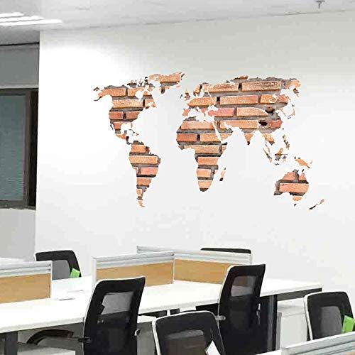Wandaufkleber DIY Wall Stickers Appliques Zitate Kunst Tapete H866 3D die Backstein Weltkarte für Kinderzimmer Wohnzimmer Home Dekore PVC Aufkleber Wandbild Kunst Kinderzimmer 60x90cm