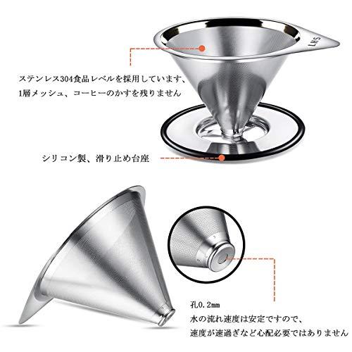 LHS コーヒードリッパー LHS ステンレスフィルター 1層メッシュ 両用型 コーヒードリップ コーヒーフィルター 紙フィルター不要 1~2杯用 [2029]