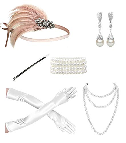 Kathyclassic 1920s Gatsby accessories Flapper Headband Necklace Gloves Cigarette Holder Flapper Costume accessories Set For Women and Girls (EG)
