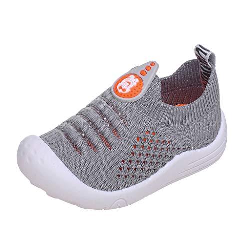 VECDY Zapatillas Bebe Primeros Pasos, Moda Linda Bebés Niños Bebés Sólidos Calcetines De Malla Suave Zapatillas De Deporte Zapatos De Deporte Cuna Suela Blanda Antideslizante Calzados (Gris,18)