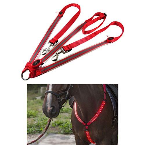 Collar con placa de caballo LED recargable por USB, la mejor tachuela de alta visibilidad para montar a caballo, ajustable, resistente, cómodo, equipo de seguridad ecuestre