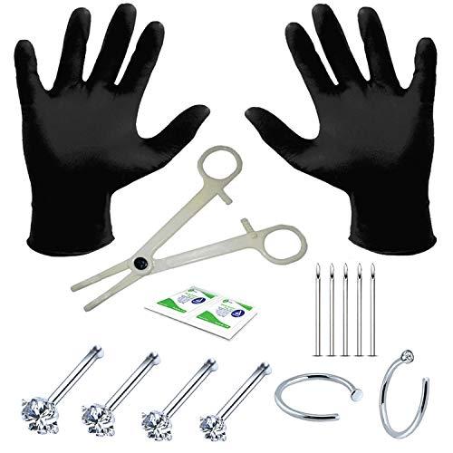 BodyJ4You 15PC Professional Piercing Kit 20G Nose Hoop Rings CZ Bone Studs Steel Body Jewelry