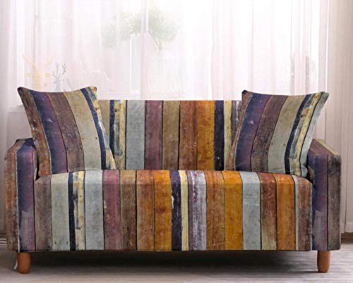 Sofa Cover Stretch Elastic Brown Plaid Graffiti Printed Sofa Slipcover 1 Seater Polyester Spandex Furniture Decorative Soft Loveseat Couch Covers Chair Protector for Pets Kids Sofa Covers