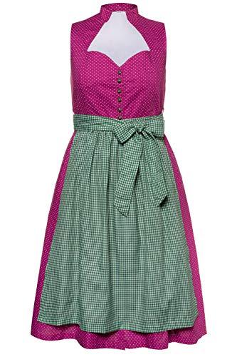 Ulla Popken Damen große Größen Dirndl, gepunktetes Kleid, Karierte Schürze kirschblütenrosa 46 723853 57-46