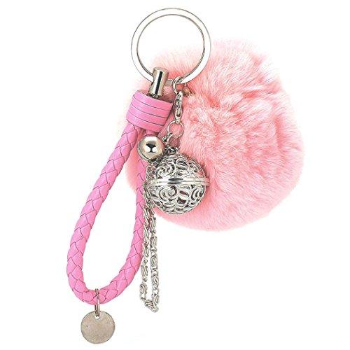 Ularma Elegant Plüsch Ball Schlüsselanhänger Weich Keychain Handtaschenanhänger Dekor (rosa)