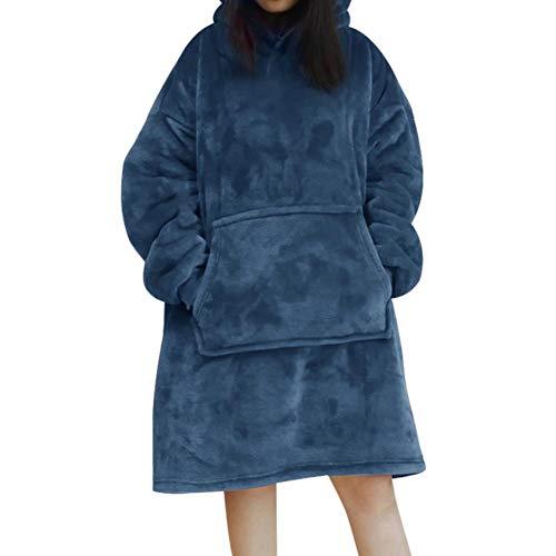 UKKD Decke Winter Maxi-Hoodie Sweatshirts Frauen Wearable Decke Mit Ärmeln Riesen Tv Blanket Fleece Pullover Bademantel,Blau,Einheitsgröße