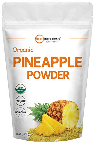 Micro Ingredients Organic Pineapple Powder, 8 Ounce, Rich in Immune Vitamin C for Immune System Booster and Great Flavor for Drinks, Smoothie and Beverages, Non-GMO and Vegan Friendly