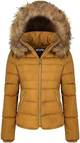 BodiLove Women s Winter Quilted Puffer Short Coat Jacket with Removable Faux Fur Hood and Zipper product image