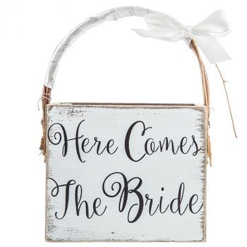 Here Comes The Bride Wood Basket Wedding Keepsake Gift