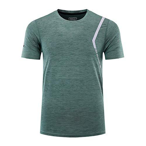 Cxypeng Sports Herren Dual Kompressionsshirt,Mode läuft schnell trocknende Kurze Ärmel, Outdoor-Fitness-Kleidung T-Shirt-grün_L,Funktionelle Sport Bekleidung