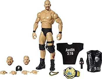 WWE Ultimate Edition Stone Cold Steve Austin Action Figure 6-in / 15.24-cm with Interchangeable Heads Swappable Hands & Entrance Gear for Ages 8 Years Old & Up