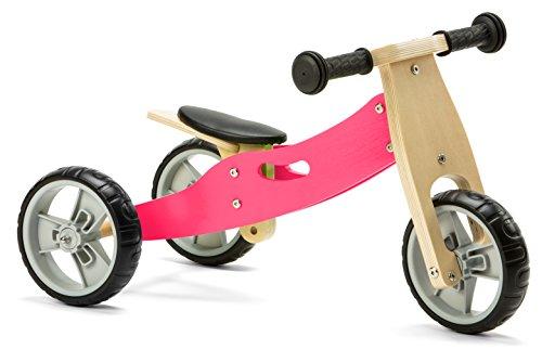 Nicko, mini bici da corsa 2 in 1, in legno, colore rosa, 18 mesi – 3 anni
