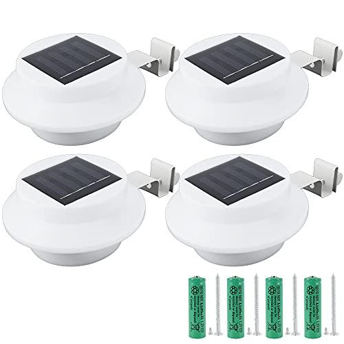 4 Stück Solar Zaun Lichter LED Solarlampen für Außen 3 LED Solar Dachrinnenleuchte Solar Wandlampe Gartenzaun Lichter Garten Wand Zaun Beleuchtung für Garten Terrasse Fahrtweg Höfe Traufen (Weiß)