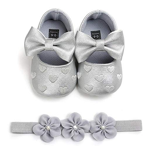 Zapatos Bebé Niña+Diademas SHOBDW Regalo Flores Suela Suave Antideslizante Zapatillas Lindo Dulce Bowknot Zapatos De Princesa Zapatos Bebe Primeros Pasos 2019 Zapatos Bebé Recién Nacida(Gris,6~12)