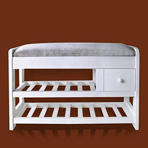 Schoenenbank van massief hout, eenvoudige schoenenkast, woonkamerschoenen, kruk, schoenenrek met opbergras, eenvoudige kruk met slaapbank voor thuis (kleur: A) A